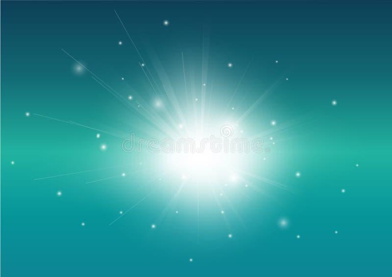 Blauer Türkis und glühender Strahlnhintergrund des hellen Strahls vektor abbildung