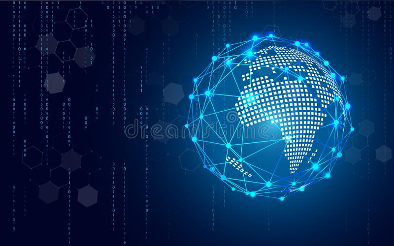 Blauer Technologiekreis und abstrakter Hintergrund der Informatik mit Blau und bin?r Code-Matrix Gesch?ft und Verbindung stock abbildung