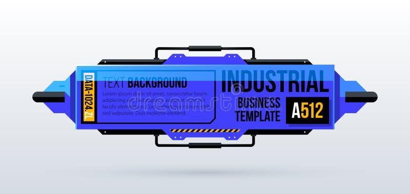 Blauer Texthintergrund mit futuristischen industriellen Elementen in techno Art vektor abbildung