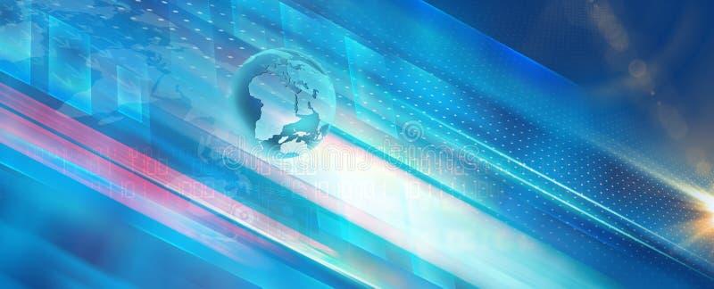 Blauer Themahintergrund der technologischen Kommunikation lizenzfreie abbildung