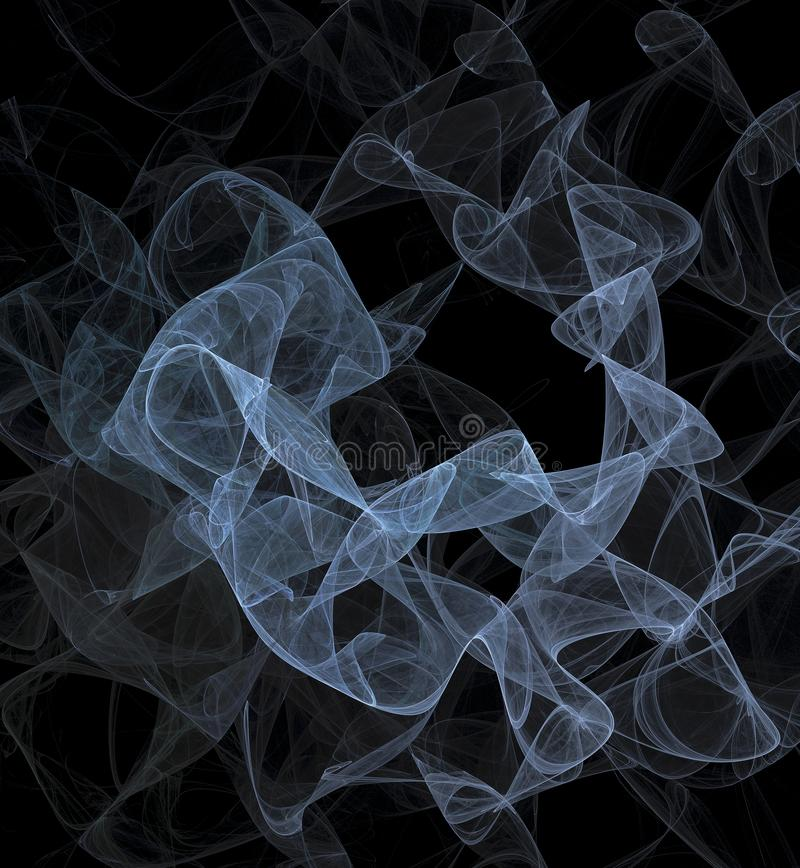 Blauer transparenter Rauch Blauer Schleier Zusammenfassung Fractal auf computererzeugtem Bild des dunklen Hintergrundes vektor abbildung