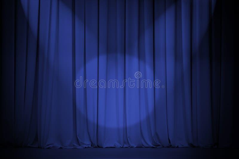 Blauer Trennvorhang des Theaters mit dem Kreuz mit zwei Leuchten stockfotos