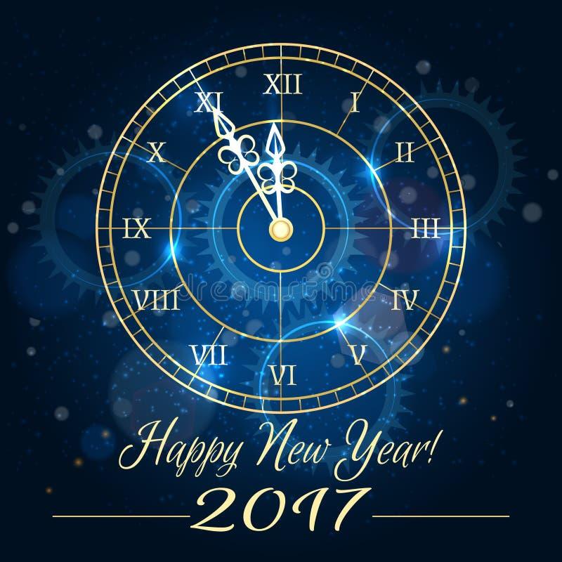 Blauer Uhrhintergrund des guten Rutsch ins Neue Jahr lizenzfreie abbildung