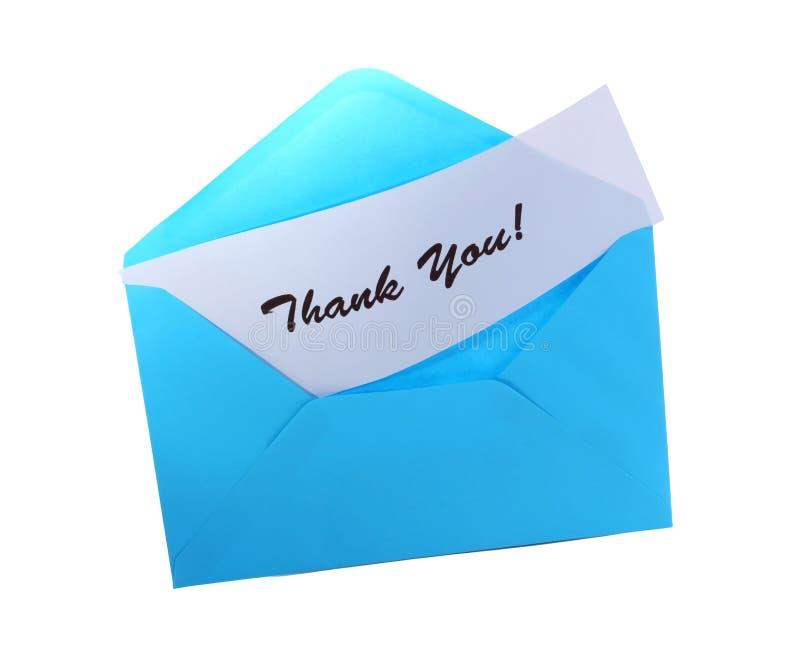 Blauer Umschlag mit danken Ihnen lizenzfreies stockfoto