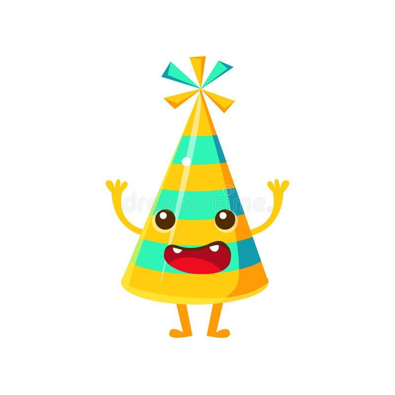 Blauer und gelber gestreifter Partei-Hut, alles Gute zum Geburtstag und Feier-Partei-Symbol-Zeichentrickfilm-Figur vektor abbildung