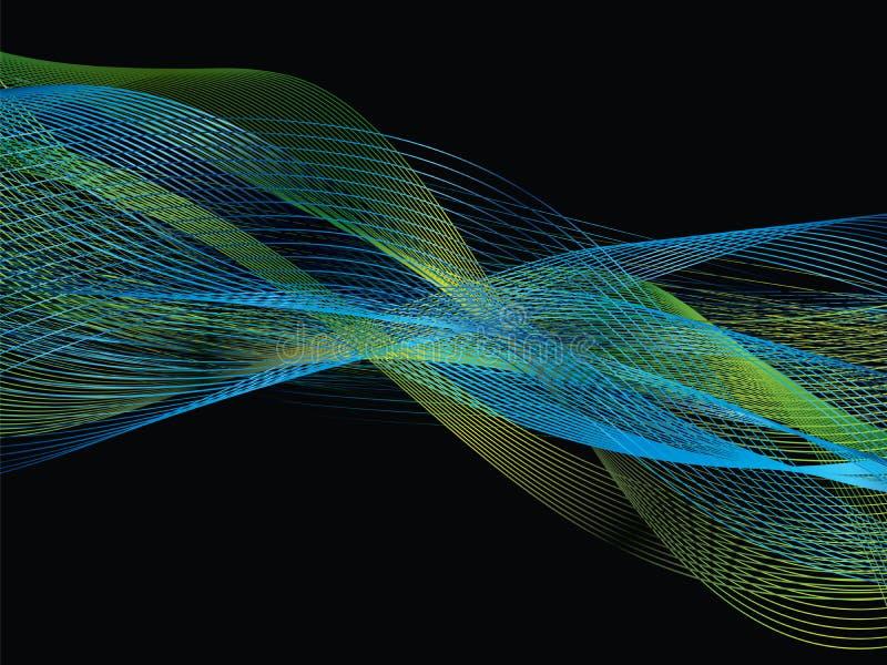 Blauer und grüner Frequenzband der abstrakten weißen Linie lizenzfreie abbildung