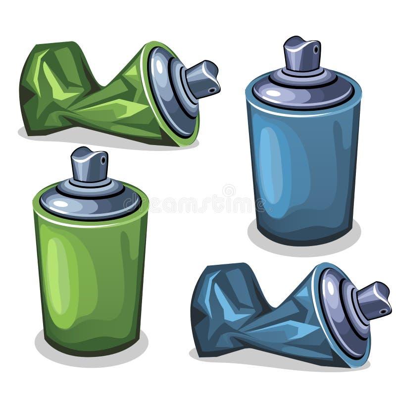 Blauer und grüner Rohrspray voll und leeres zerknittert vektor abbildung
