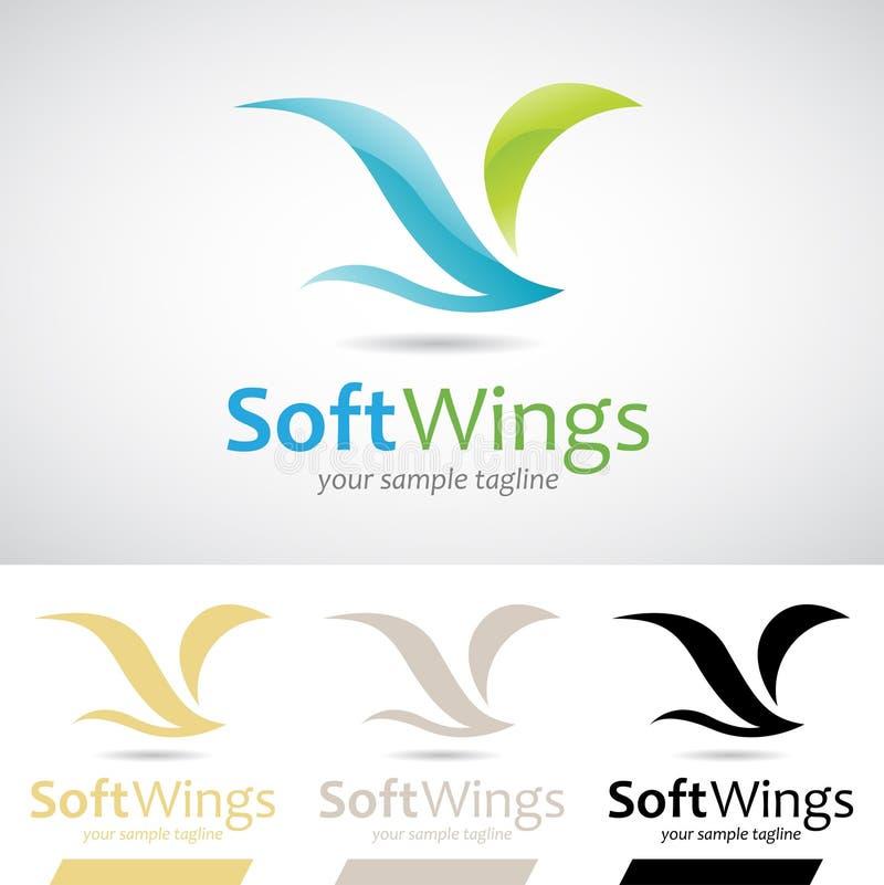 Blauer und grüner weicher Flügel-Vogel Logo Icon vektor abbildung