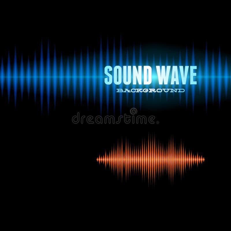 Blauer und orange glänzender solider Wellenformhintergrund lizenzfreie abbildung