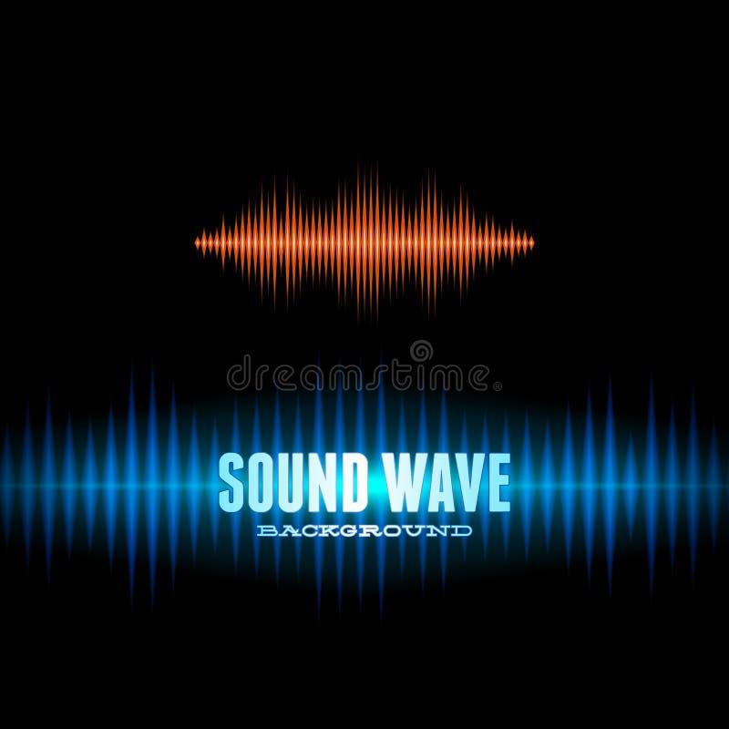 Blauer und orange glänzender solider Wellenformhintergrund vektor abbildung