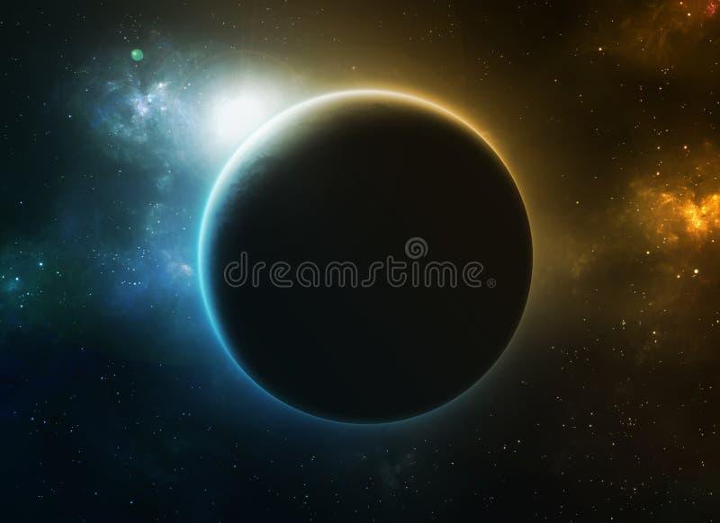 Blauer und orange Planet vektor abbildung