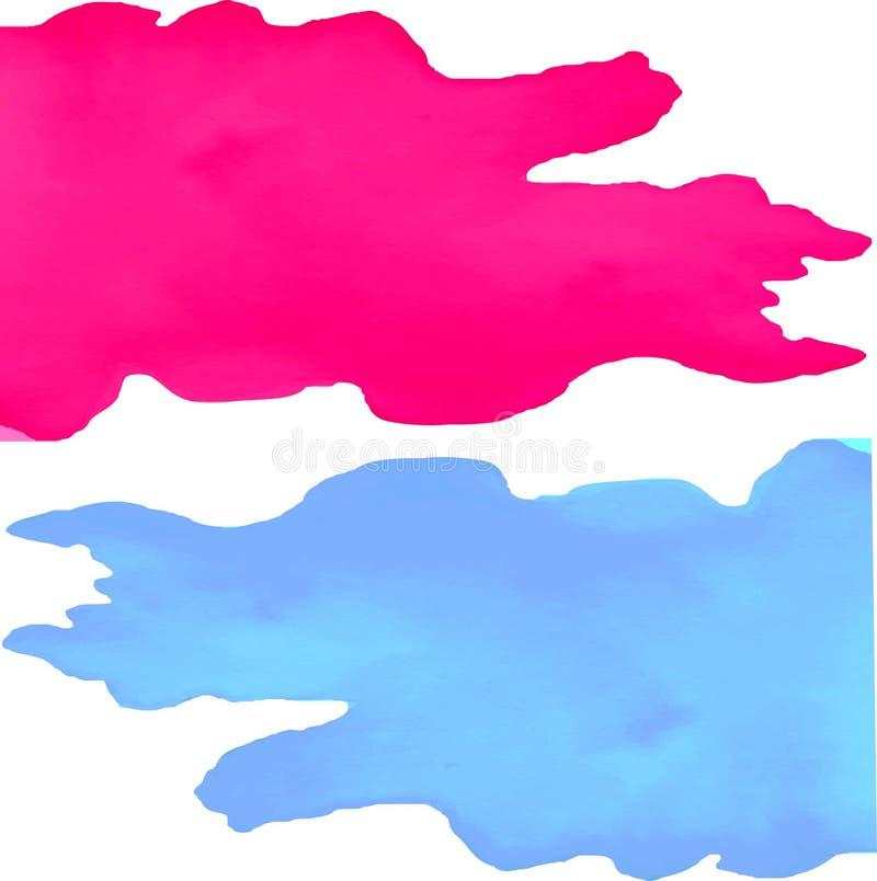 Blauer und rosa Aquarellfleck lizenzfreie abbildung
