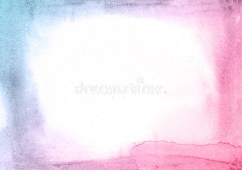 Blauer und rosa kreativer Blumenaquarell-Beschaffenheitshintergrund, schöner kreativer Planet lizenzfreie abbildung