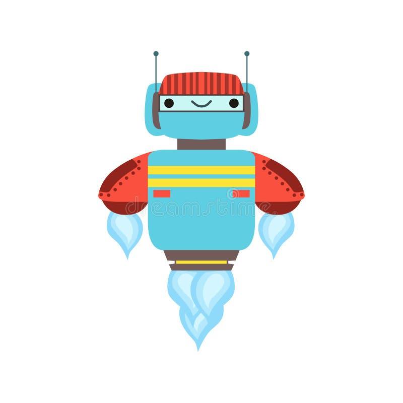 Blauer und roter freundlicher Android-Roboter-Charakter, der Mid Air-Vektor-Karikatur-Illustration schwimmt stock abbildung