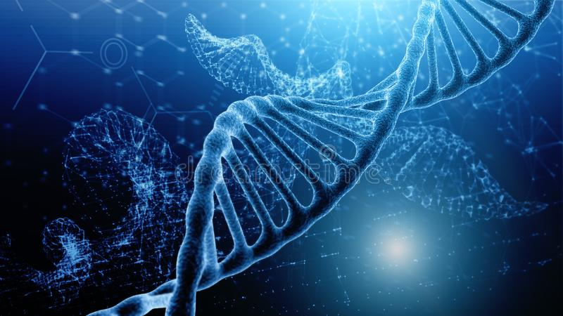 Blauer und roter Partikel-DNA-Helix, der über dunkelblauen Hintergrund glüht Konzept von Genetik, von Wissenschaft und von Medizi stock abbildung