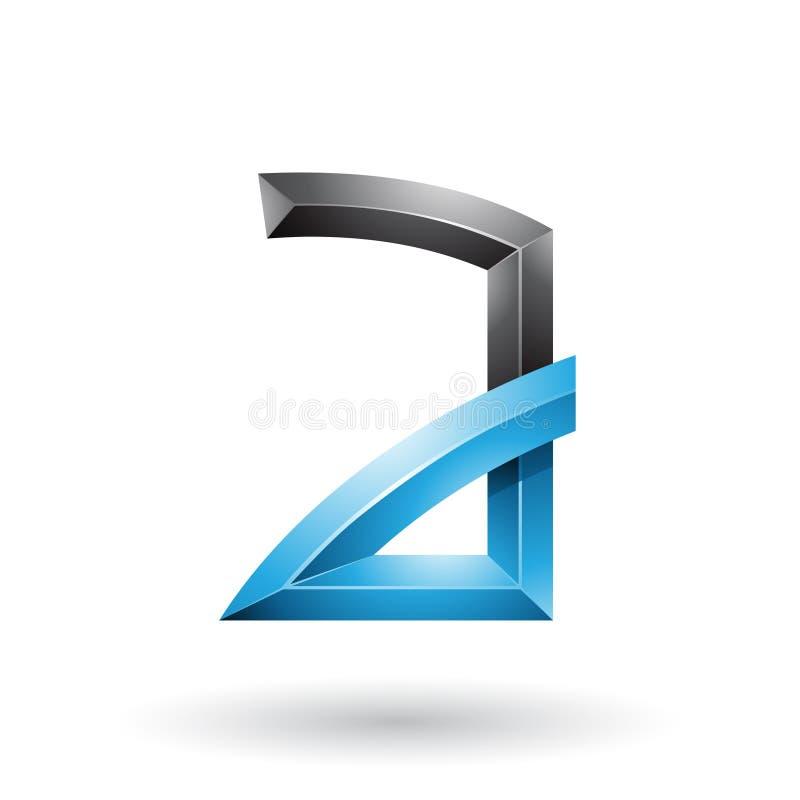 Blauer und schwarzer prägeartiger Buchstabe A mit den verbogenen Gelenken lokalisiert auf einem weißen Hintergrund stock abbildung