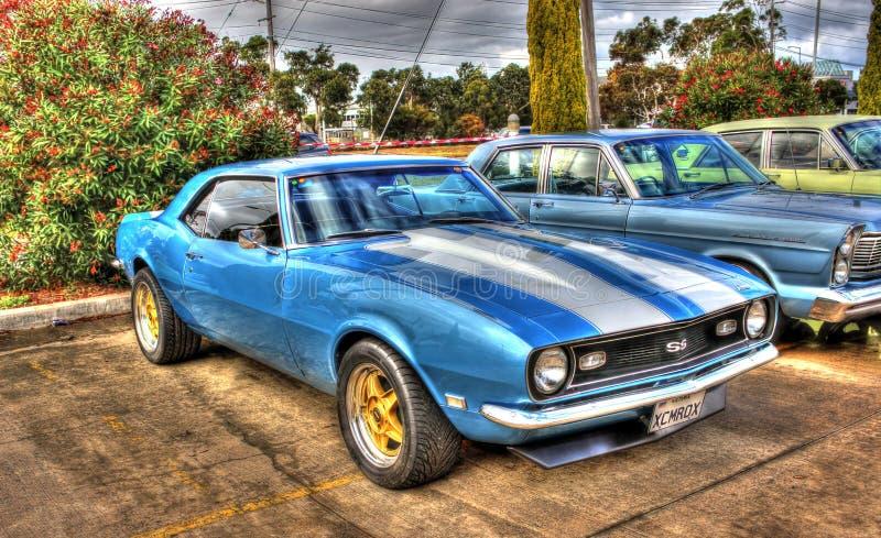 Blauer und weißer Chevy Camaro SS stockbilder