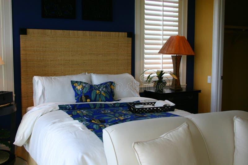 Blauer und weißer Gast-Raum stockbilder