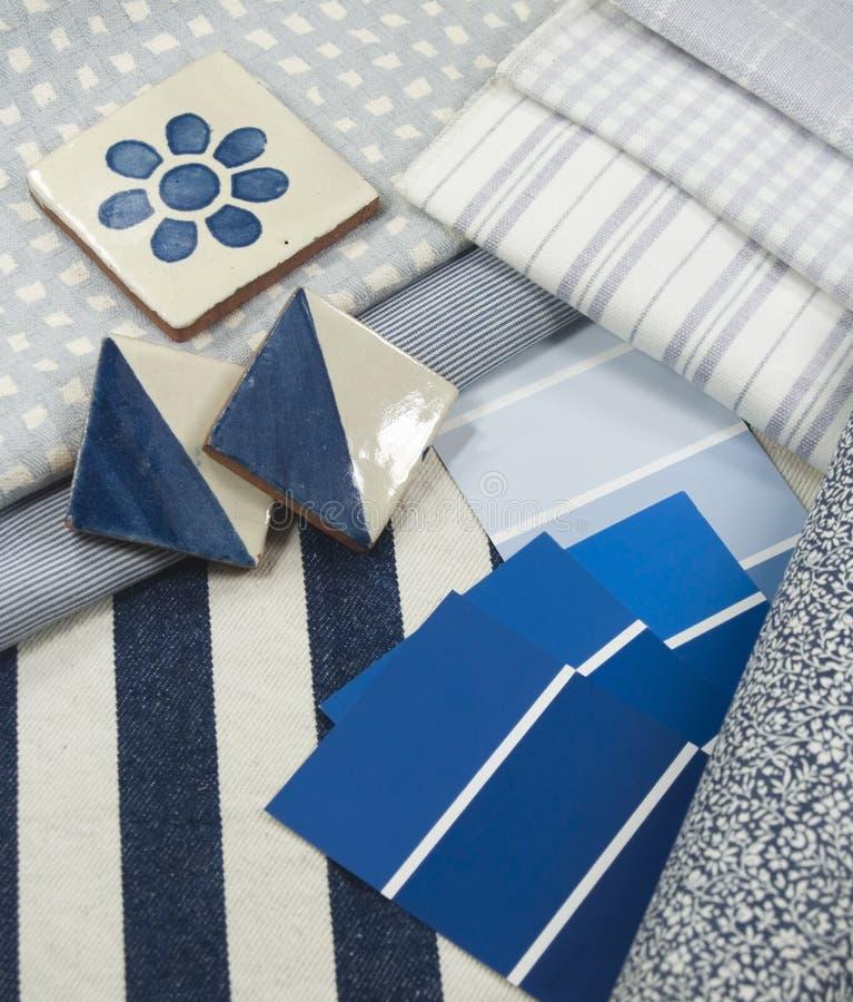 Blauer und weißer Innenausführungsplan lizenzfreies stockbild