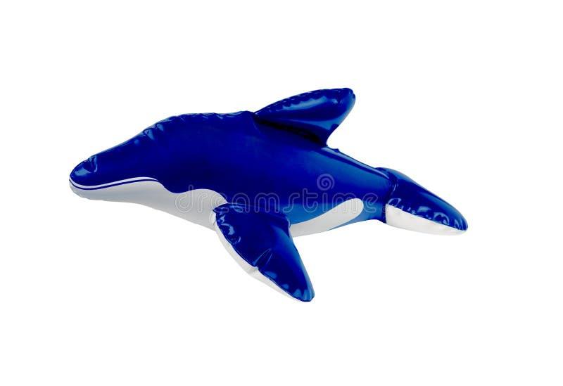 Blauer und weißer Spielzeugdelphin stockbild