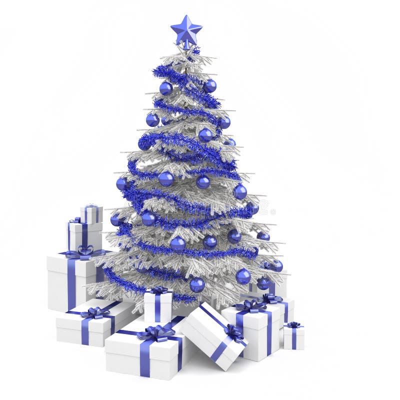 Blauer und weißer Weihnachtsbaum stock abbildung