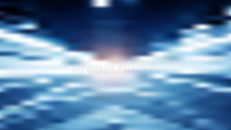 Blauer Unschärfehintergrund des Vektors mit Korridor oder Tunnel vektor abbildung