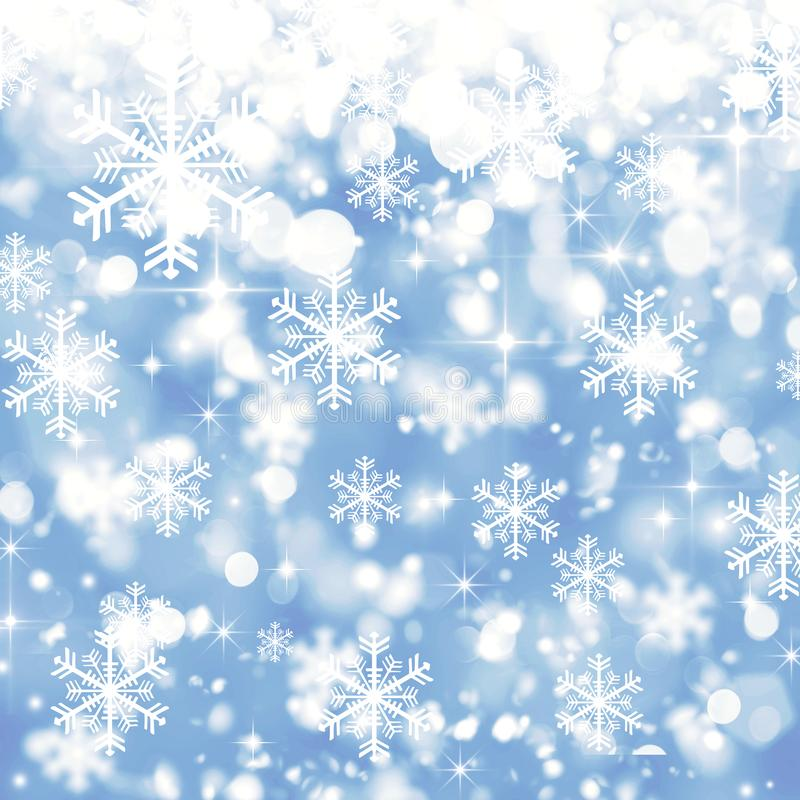 Blauer unscharfer Hintergrund, Winter, Weihnachten, Schnee, weißes snowflak lizenzfreie abbildung