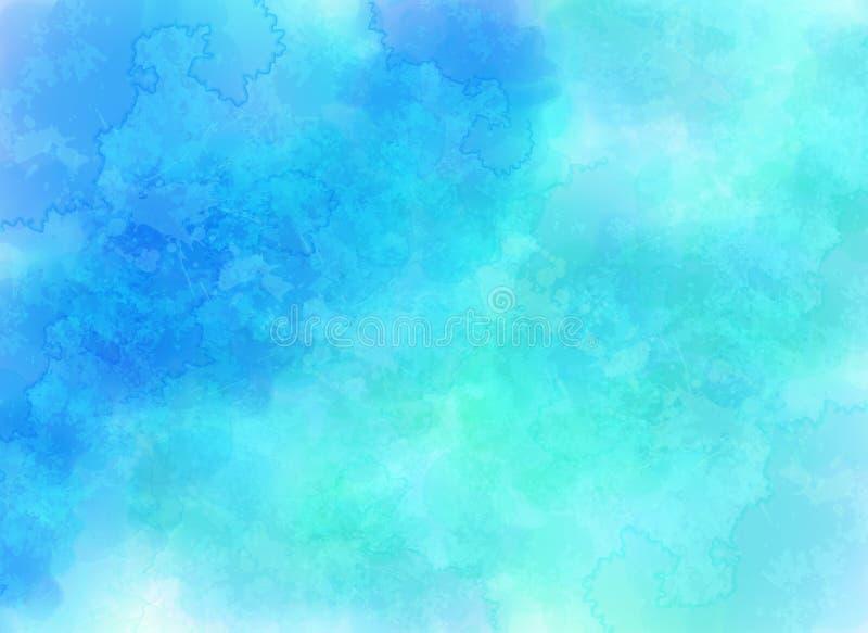 Blauer Vektor bewölkt Hintergrund in der Aquarellart stock abbildung