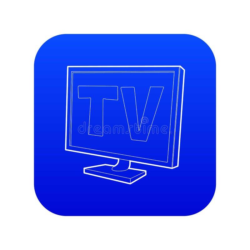 Blauer Vektor der Fernsehschirm-Ikone vektor abbildung