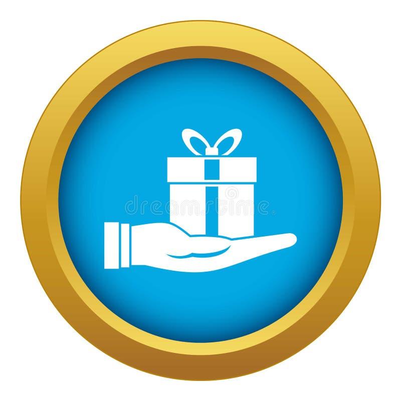 Blauer Vektor der Ikone der Geschenkbox in der Hand lokalisiert vektor abbildung