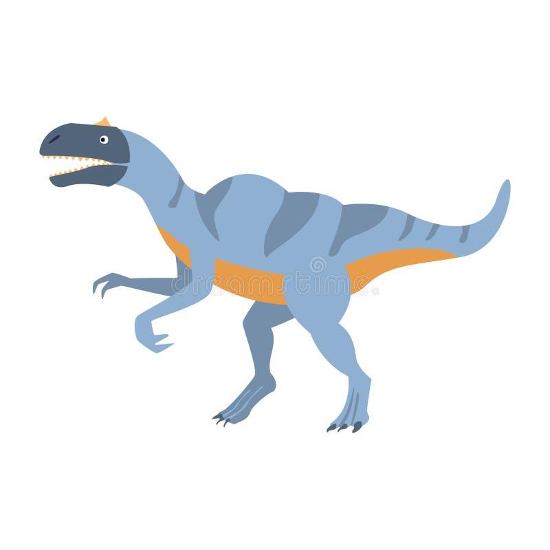 Blauer Velociraptor-Dinosaurier der Jurazeit, prähistorische ausgestorbene riesige Reptil-Karikatur-realistisches Tier lizenzfreie abbildung