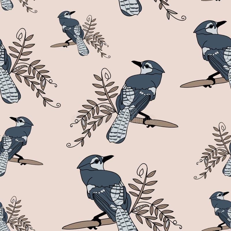 Blauer Vogel auf einem Zweig lizenzfreie abbildung