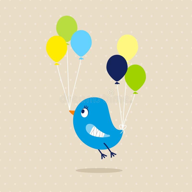 Blauer Vogel defektes Wing Speech Bubble Beige Dots vektor abbildung