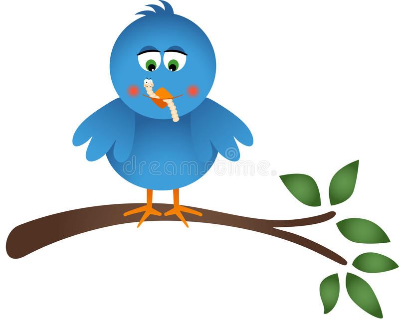 Blauer Vogel, der einen Wurm isst stock abbildung