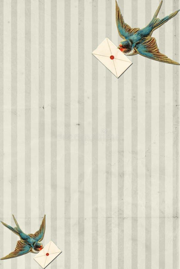 Blauer Vogel der gestreiften Hintergrundweinlese mit Zeichen lizenzfreie abbildung