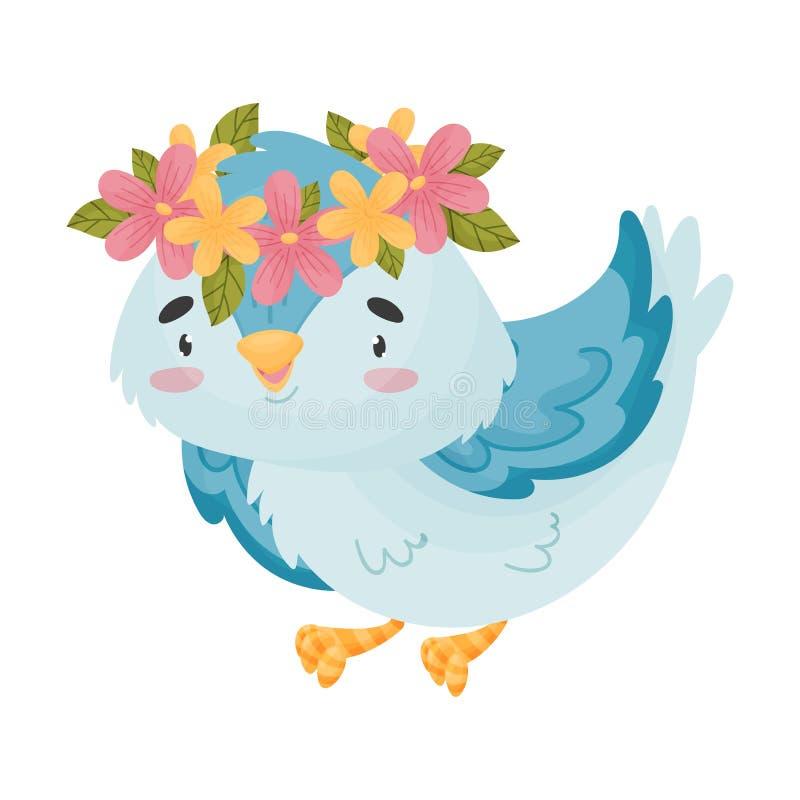 Blauer Vogel der Karikatur mit einem Kranz Vektorabbildung auf wei?em Hintergrund lizenzfreie abbildung