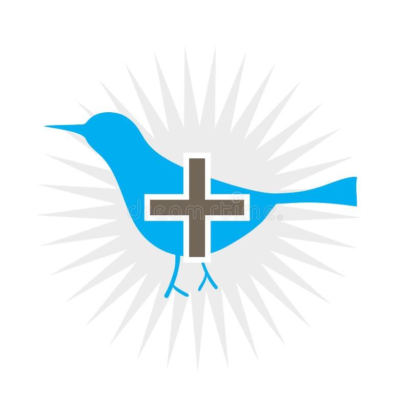 Blauer Vogel fügen Ikone hinzu vektor abbildung