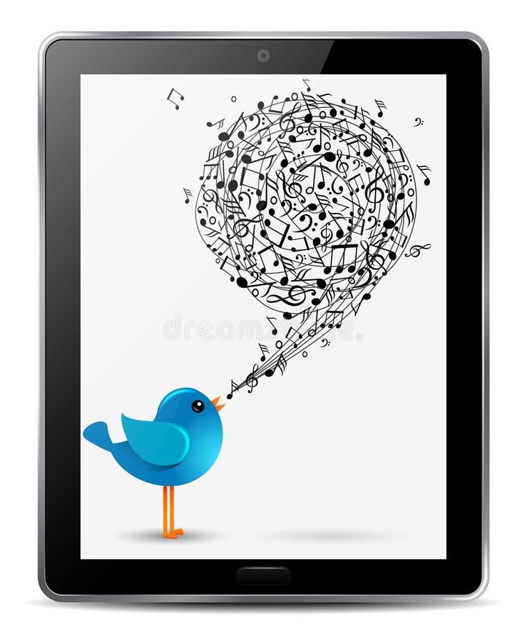 Blauer Vogel mit Musikanmerkungen auf Bildschirm der Tablette stock abbildung