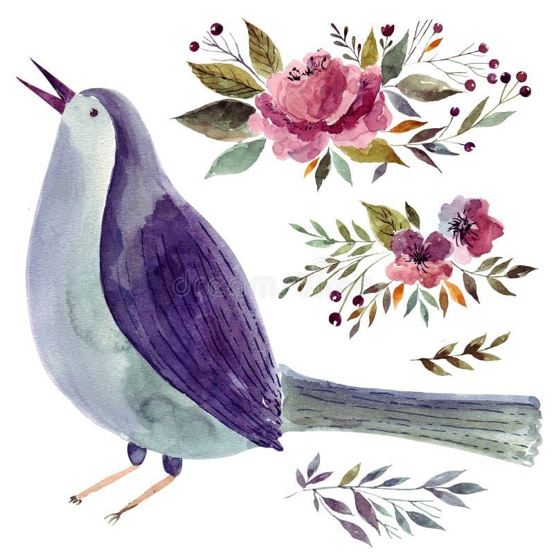 Blauer Vogel und Blumen stock abbildung