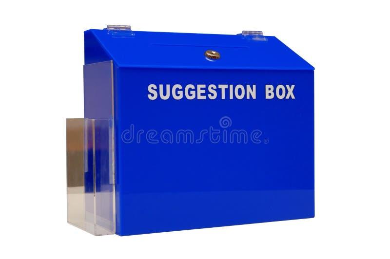 Blauer Vorschlagskasten stockfoto