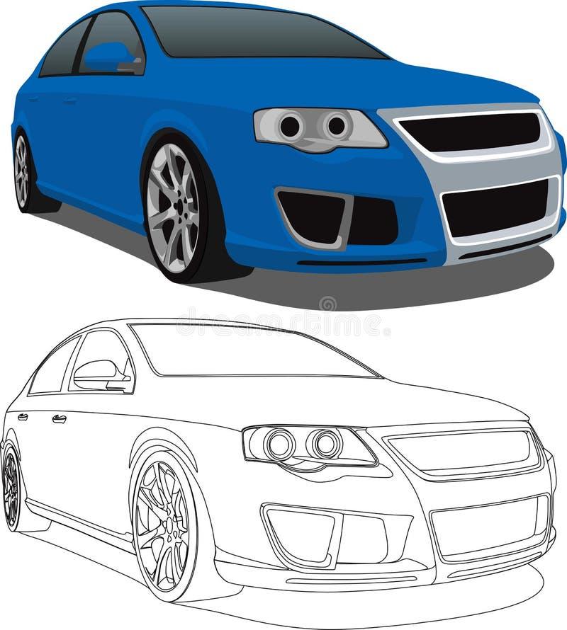 Blauer VW Passat stock abbildung