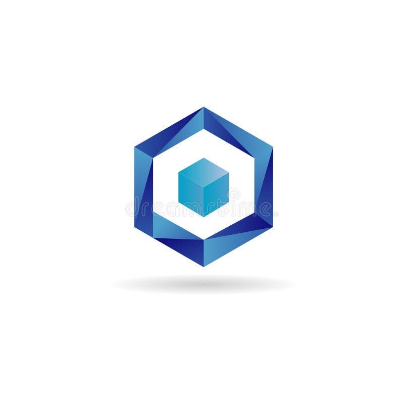 Blauer Würfel Logo Design Symbol Icon lizenzfreie abbildung
