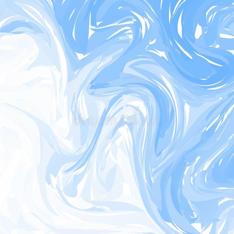 Blauer weißer abstrakter Marmorierunghintergrund des Vektors Flüssiges Marmormuster Modische Schablone für Entwurf, Hochzeit, Ein stock abbildung
