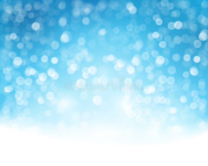 Blauer weißer Bokeh-Hintergrund stock abbildung
