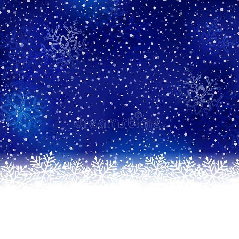 Blauer weißer Winter, Weihnachtshintergrund mit Schneeflockengrenze lizenzfreie abbildung