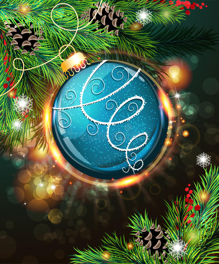 Blauer Weihnachtsball stock abbildung