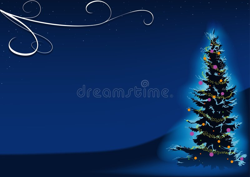 Blauer Weihnachtsbaum lizenzfreie abbildung