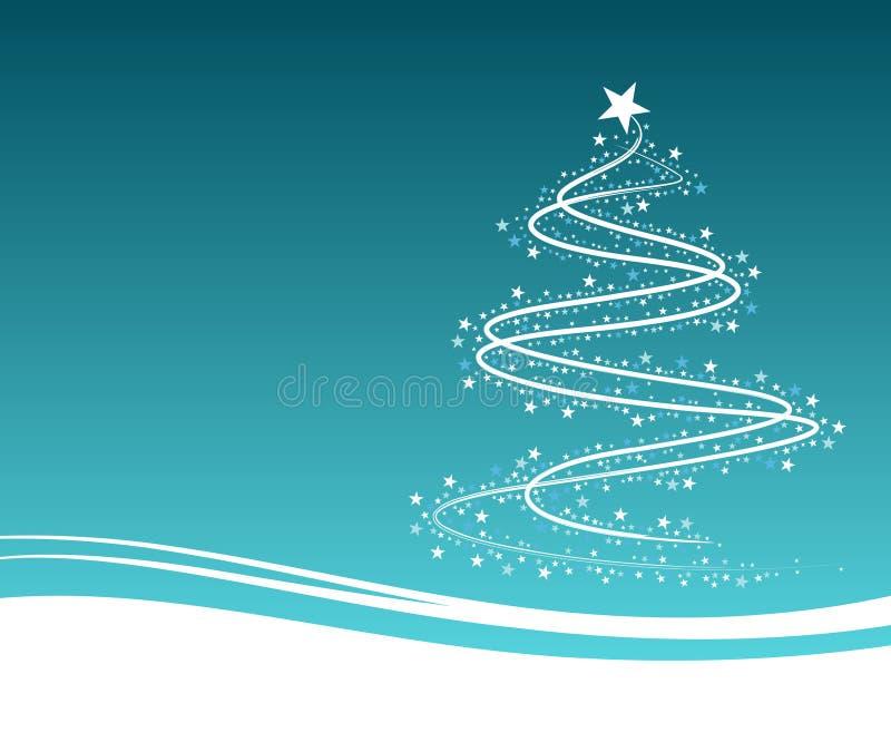 Blauer Weihnachtsbaum mit Blumen lizenzfreie abbildung