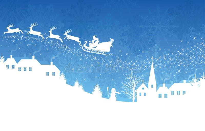 Blauer Weihnachtshintergrund. lizenzfreie abbildung