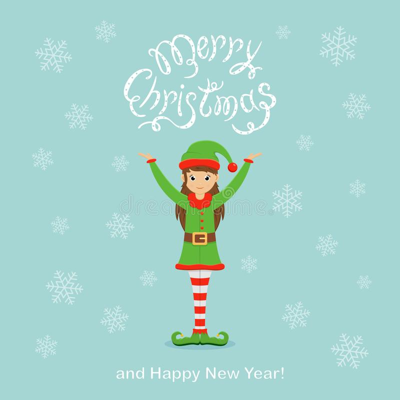 Blauer Weihnachtshintergrund mit netter Elfe und Schneeflocken vektor abbildung